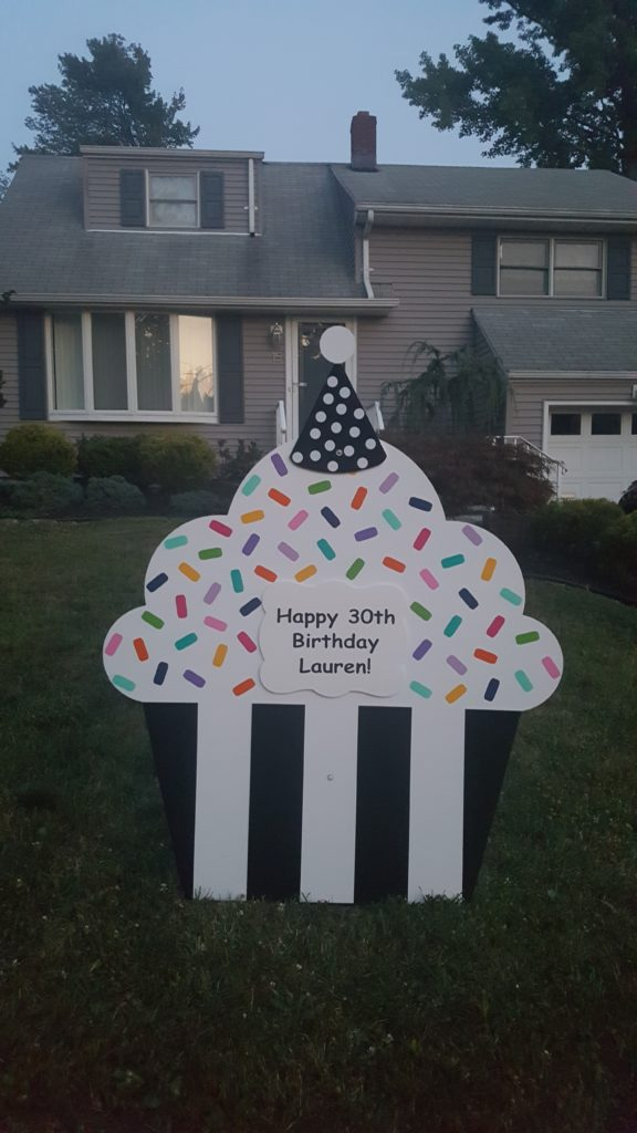 Birthday Cupcake Yard Signs Little Falls NJ North Jersey Storks 973 907 0626